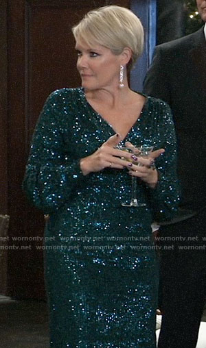 Ava's teal blue sequin dress on General Hospital