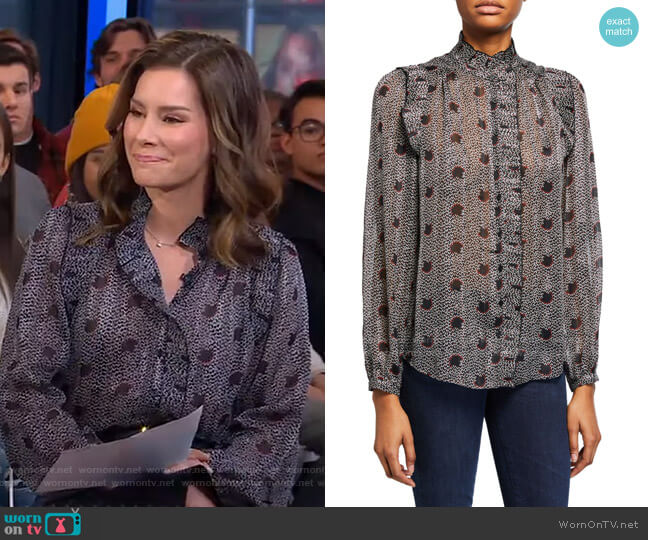 Precious Printed Ruffle Blouse by Ba&Sh worn by Rebecca Jarvis  on Good Morning America