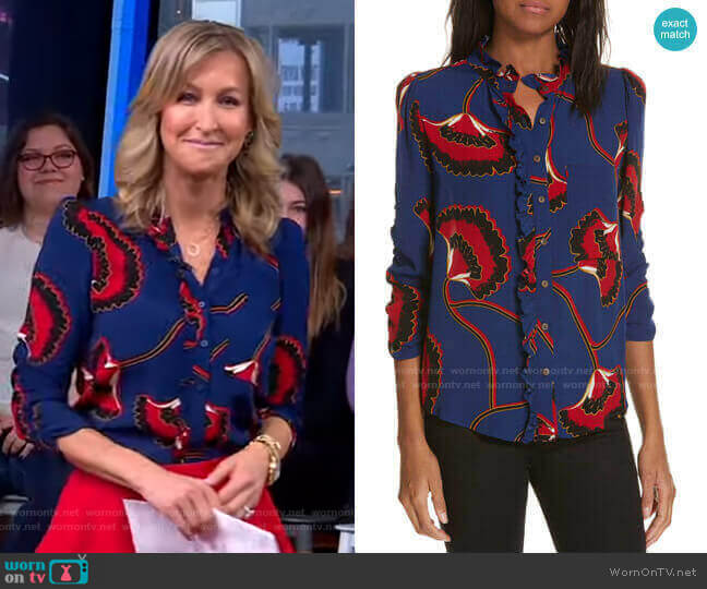 Laura Blouse by ba&sh worn by Lara Spencer  on Good Morning America