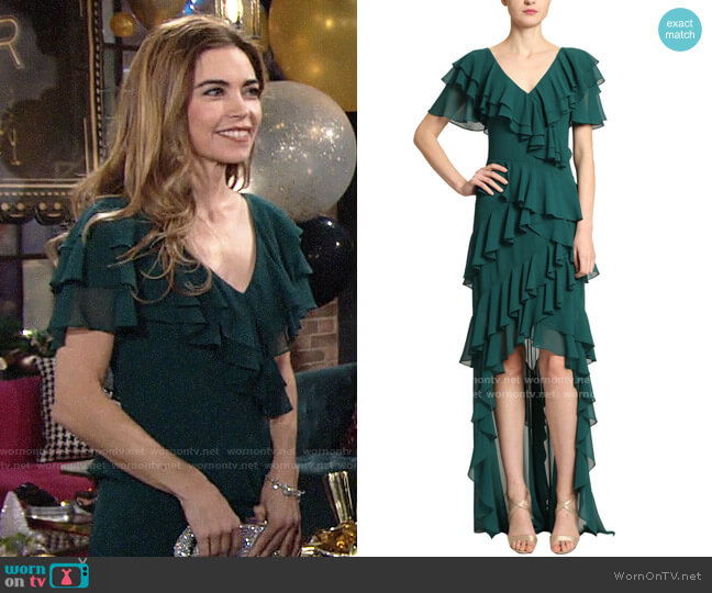 Badgley Mischka V-neck Flutter Ruffle Gown worn by Victoria Newman (Amelia Heinle) on The Young & the Restless