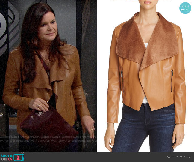 Bagatelle Draped Faux Leather Jacket worn by Katie Logan (Heather Tom) on The Bold & the Beautiful