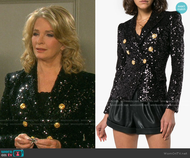 Balmain Double breasted sequin blazer worn by Marlena Evans (Deidre Hall) on Days of our Lives