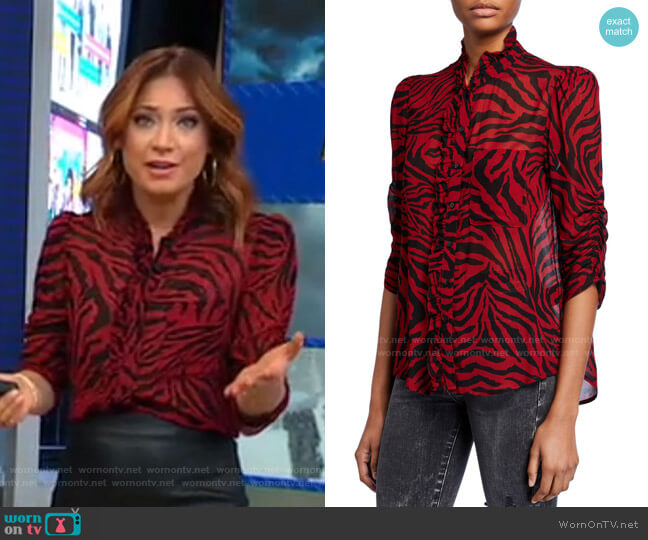Sisco Tiger-Print Button-Down Top by Ba&Sh worn by Ginger Zee  on Good Morning America