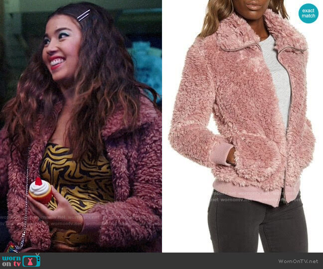 BB Dakota Teddy Or Not Faux Fur Bomber Jacket worn by Cheyenne (Nichole Bloom) on Superstore