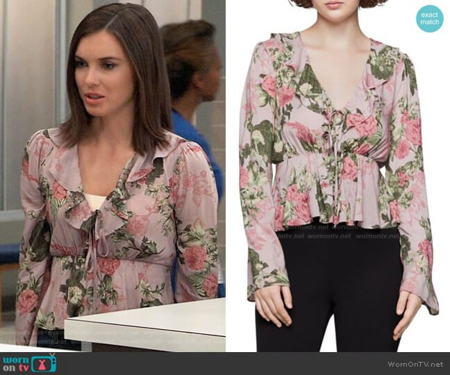 Bcbgeneration Flutter Floral Printed Top worn by Willow Tait (Katelyn MacMullen) on General Hospital