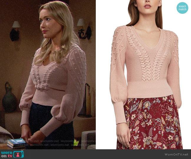 Bcbgmaxazria Bishop Sleeve Cable Sweater worn by Florence (Katrina Bowden) on The Bold & the Beautiful