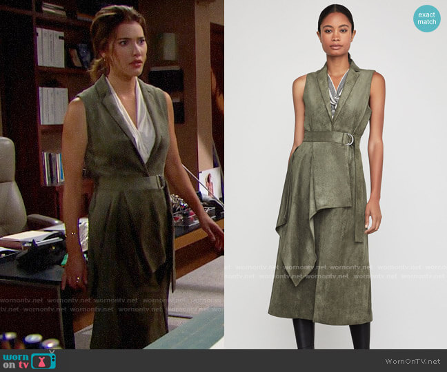 Bcbgmaxazria Faux Suede Drape Front Long Vest worn by Steffy Forrester (Jacqueline MacInnes Wood) on The Bold & the Beautiful
