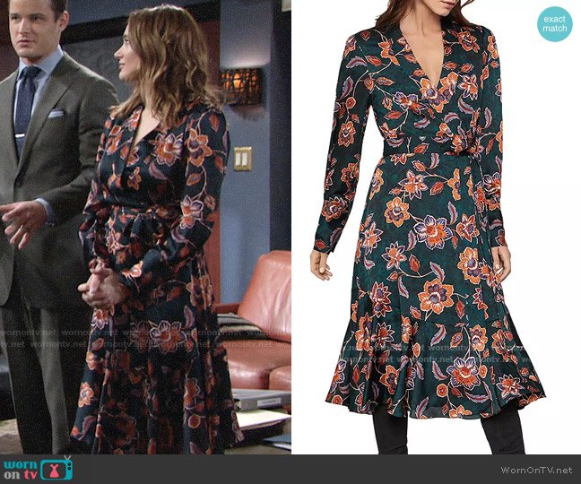 Bcbgmaxazria Floral Satin Georgette Wrap Dress worn by Summer Newman (Hunter King) on The Young & the Restless