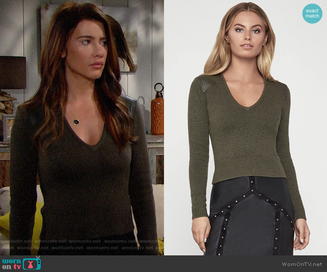 Bcbgmaxazria Pleather Trim Sweater worn by Steffy Forrester (Jacqueline MacInnes Wood) on The Bold & the Beautiful