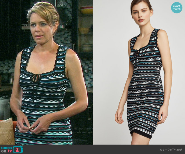 Bcbgmaxazria Dotted Stripe Bodycon Dress worn by Nicole Walker (Arianne Zucker) on Days of our Lives
