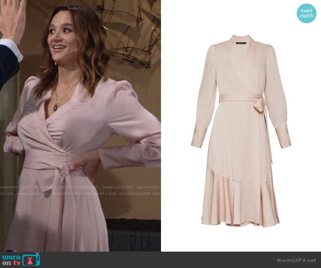 Bcbgmaxazria Satin Crepe Long Sleeve Dress worn by Summer Newman (Hunter King) on The Young & the Restless