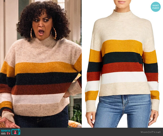 BeachLunchLounge Portia Striped Sweater worn by Cocoa McKellan (Tia Mowry-Hardrict) on Family Reunion