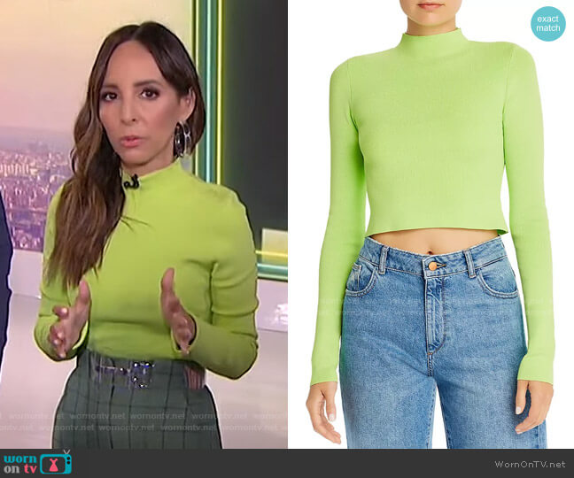 Astrid Neon Cropped Mock-Neck Top by Bec + Bridge worn by Lilliana Vazquez  on E! News