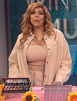 Wendy's beige leather shirt and marbled skirt on The Wendy Williams Show