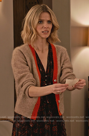 Mallory's beige cardigan on Grace and Frankie