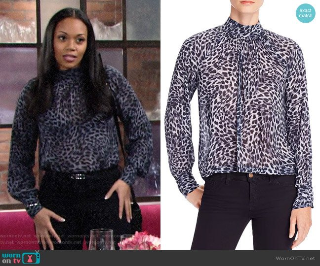 Bella Dahl Cheetah Print Button-Back Top worn by Amanda Sinclair (Mishael Morgan) on The Young & the Restless