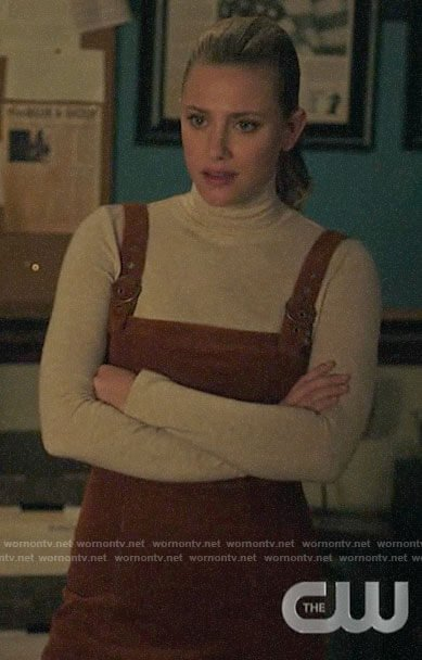 Betty's corduroy overall dress and mock neck top on Riverdale