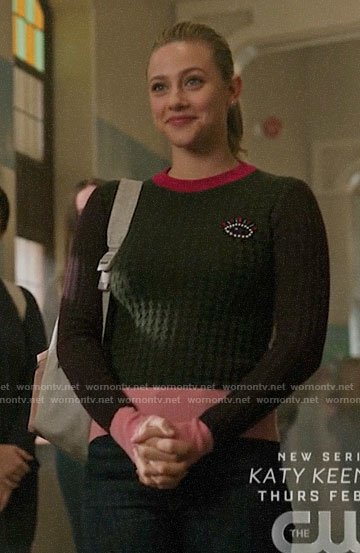 Betty's embellished eye sweater on Riverdale