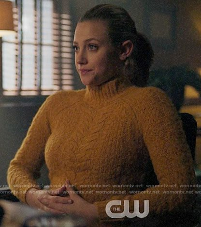 Betty's yellow textured cable knit sweater on Riverdale