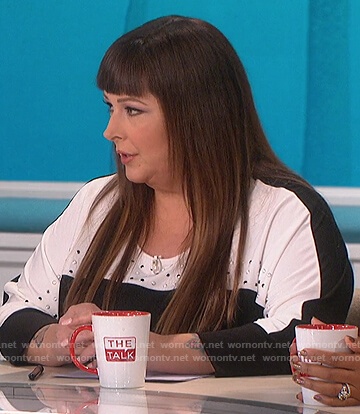 Carnie Wilson's black and white studded top on The Talk