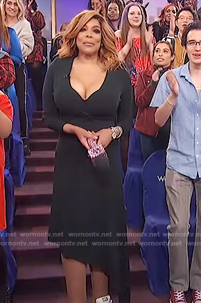 Wendy's black asymmetric dress on The Wendy Williams Show