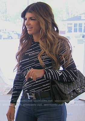 Teresa's black Balenciaga logo top on The Real Housewives of New Jersey