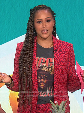 Eve's Biggie Smalls tee and leopard blazer on The Talk
