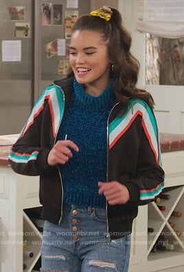 Alexa's black chevron stripe track jacket on Alexa & Katie