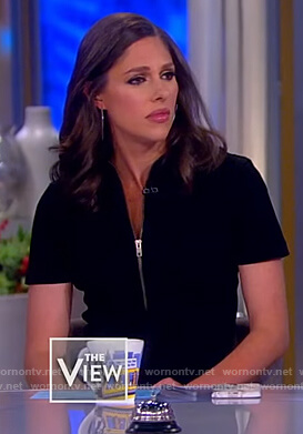 Abby's black corduroy jumpsuit on The View