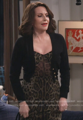 Karen's leopard print dress and cropped cardigan on Will and Grace
