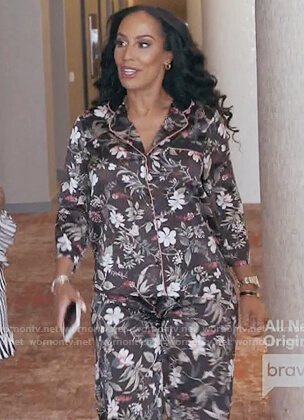 Tanya Sam's black floral print pajamas on The Real Housewives of Atlanta