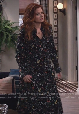 Grace's black floral tie dress on Will and Grace