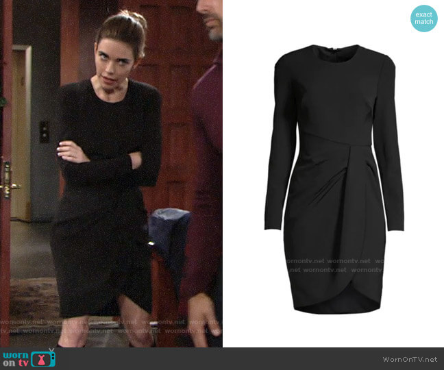 Black Halo Ivana Dress worn by Victoria Newman (Amelia Heinle) on The Young & the Restless
