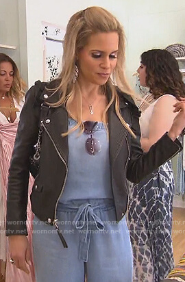 Jackie's black ruffle leather moto jacket on The Real Housewives of New Jersey