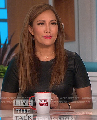 Carrie's zebra stripe skirt and leather top on The Talk