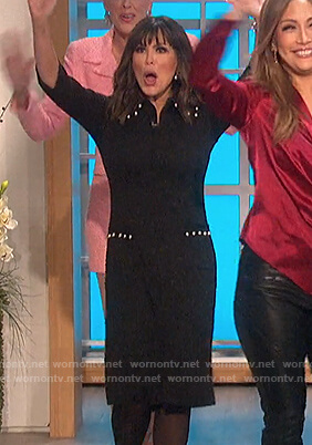 Marie's black pearl embellished dress on The Talk