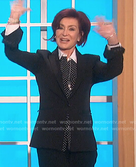 Sharon's polka dot contrast blouse on The Talk