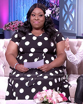 Loni's black polka dot tie dress on The Real
