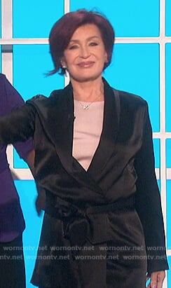 Sharon's black satin belted blazer on The Talk