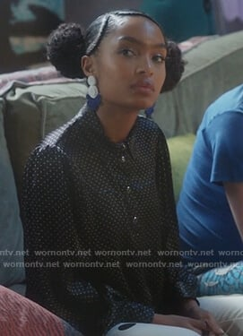 Zoey's black dotted blouse on Grown-ish
