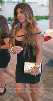 Teresa's black embellished strap mini dress on The Real Housewives of New Jersey