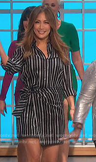 Carrie's black striped shirtdress on The Talk