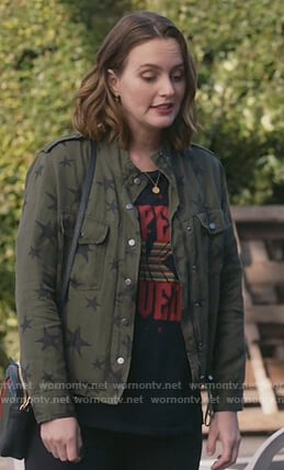 Angie's green star jacket and printed tee on Single Parents