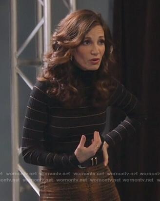 Tracy Freeze's black stripe turtleneck sweater on Single Parents