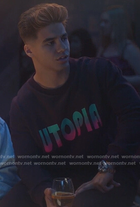 Vivek's black Utopia sweatshirt on Grown-ish