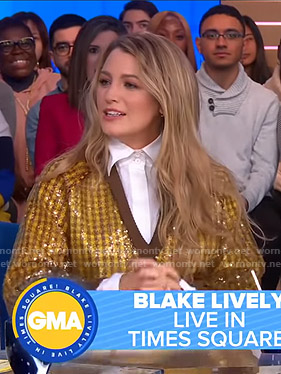 Blake Lively's sequin checked sweater on Good Morning America