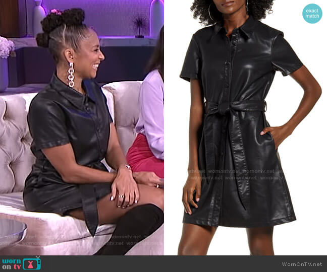 Belted Faux Leather Shirtdress by Blank NYC worn by Amanda Seales  on The Real