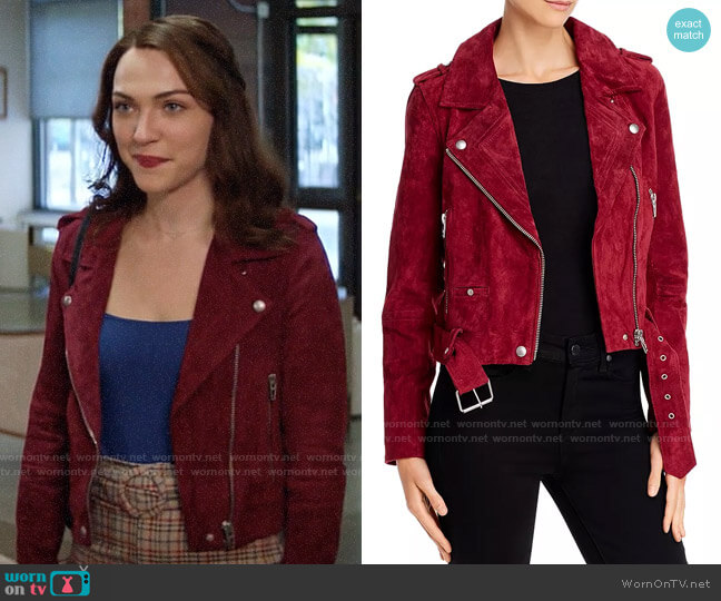 Blank NYC Suede Moto Jacket in Rich Berry worn by Cara Bloom (Violett Beane) on God Friended Me
