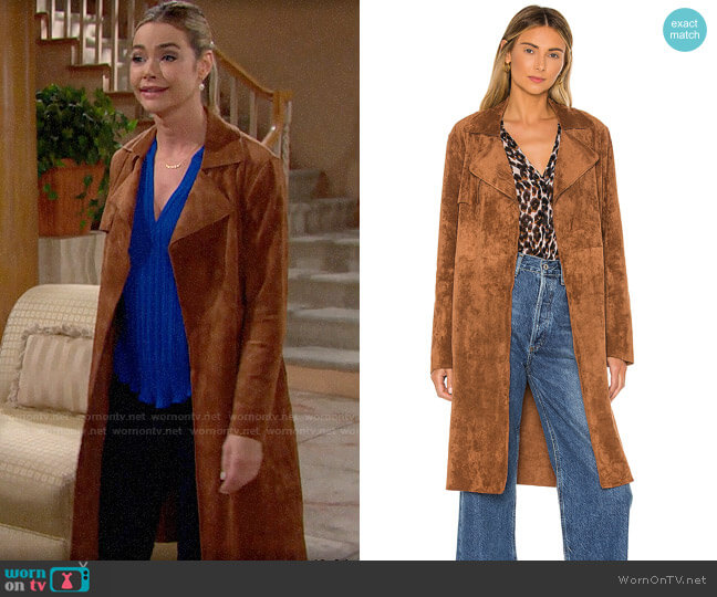 Blank NYC Coco Faux Suede Trench Coat worn by Shauna Fulton (Denise Richards) on The Bold & the Beautiful