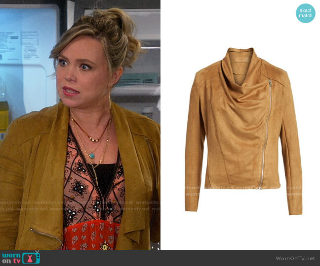Blank NYC Camel Faux Suede Drape Front Jacket worn by Kristin Baxter (Amanda Fuller) on Last Man Standing